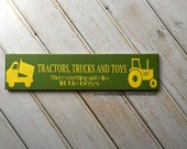 Tractors, Trucks and Toys, There's Nothing Quite Like Little Boys  -  Hand PaintedTypography wall art sign-