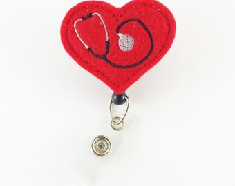 Red Stethoscope Heart - Felt Badge Reel - Nurse Badge Holder - Medical Badge Reels - RN Badge Clip - Retractable ID Badge - Badge ID Reels