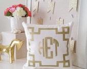 Monogram Throw Pillow Cover - Cream Metallic Gold or Silver Monogram