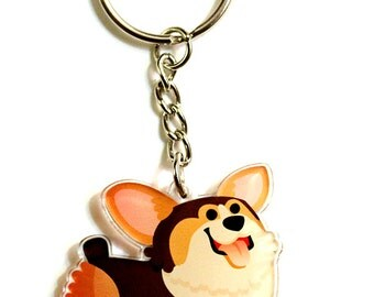 Tri color Corgi Keychain, Corgi Phone Charm, corgi gift, welsh corgi, corgi lover gift, dog lover gift, corgi butt, dog lovers, cute corgi