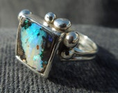 Bubbly Boulder Opal Statement Ring, size 6.5. Blue and Green Boulder Matrix Opal in Bright Sterling Silver. Handmade Bubbles and Fire Ring.