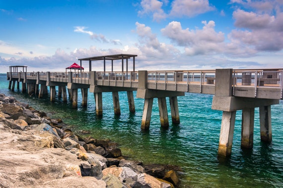 Items similar to fishing pier and jetty at south pointe for Miami fishing piers