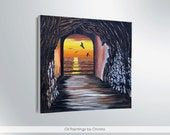 Art painting Sunset painting Personalized gift Sunset canvas Wall decor Home decor Sea painting Cave painting Romantic art For her Original