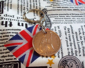 1962 1d 1d Old Penny English Coin Keyring Key Chain Fob Queen Elizabeth II