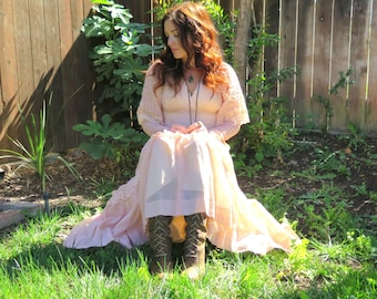 Vintage 70's Bohemian Goddess Wedding Maxi Dress-Gunne Sax