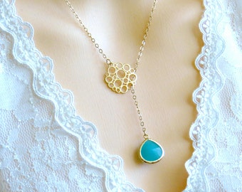 Turquoise Lariat Necklace, Mint Birthstone Necklace, Gift for Her, Gift for Mom, Holiday Necklace, Bridesmaid Necklace, Best Friend Gift