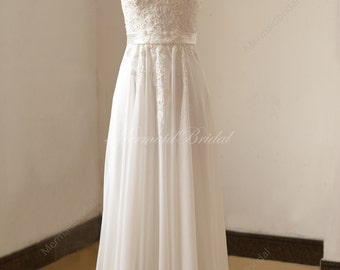 Ivory chiffon lace wedding dress with illusion neckline and pearls