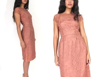 Vintage 50s 60s Mauve Sheer Lace Nude Illusion Wiggle Dress Glam Holiday