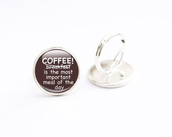 Coffee Jewelry - Coffee Quote Jewelry - Coffee Gifts - Coffee Ring - Glass Jewelry (CJ1)
