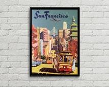 San Francisco poster. San Francisco print. San Francisco art. Travel poster illustration.
