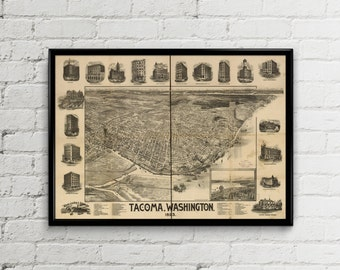 Tacoma Map Etsy - Us tacoma map