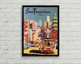 San Francisco poster. San Francisco print. San Francisco art. Travel poster illustration. Wall art print. Prints illustration art California