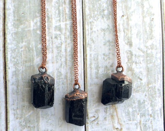 Tourmaline crystal necklace | Raw tourmaline necklace | Raw black tourmaline pendant on copper chain | Rough tourmaline crystal pendant