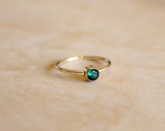 Emerald Ring - May Birthstone Ring - 14k Gold Fill or Sterling Silver - Stacking Ring - Gemstone Ring - Green Ring Bridesmaids Gift For Her