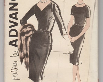 1960s Uncut Advance 9898 Woman's Elegant Semi-fitted Sheath Dress With Two Neckline And Sleeve Styles - Size 18 1/2 Bust 39 -Vintage Pattern