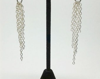 Silver Cascading Chain Rose Earrings