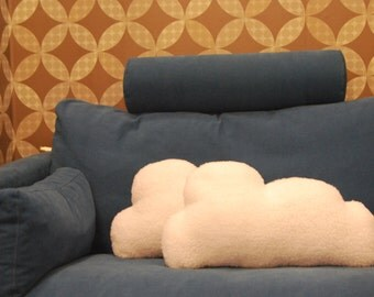 Two Cloud Shaped Cushion - Pillow . White and fluffy. Fleece plush.