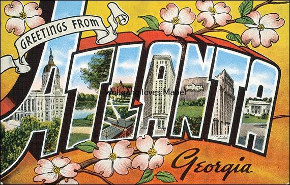 Atlanta (IL) United States  city images : Greetings from Atlanta Georgia United States Postcard Vintage Mid ...