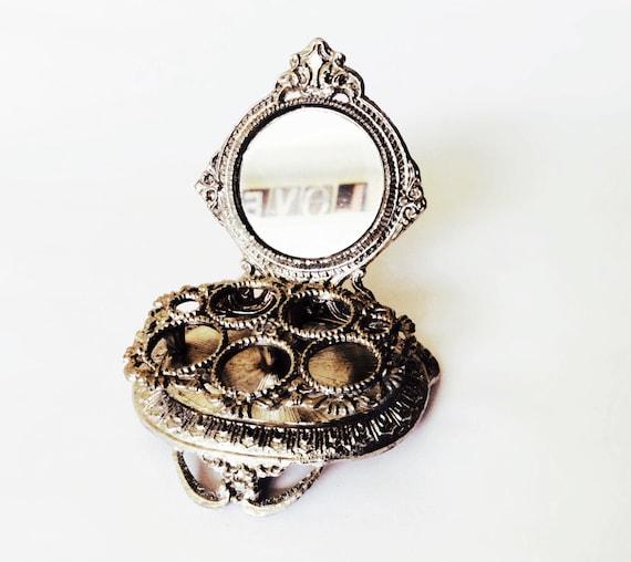 Vintage Celeste Lipstick Holder Mirror Ornate Vanity Organizer