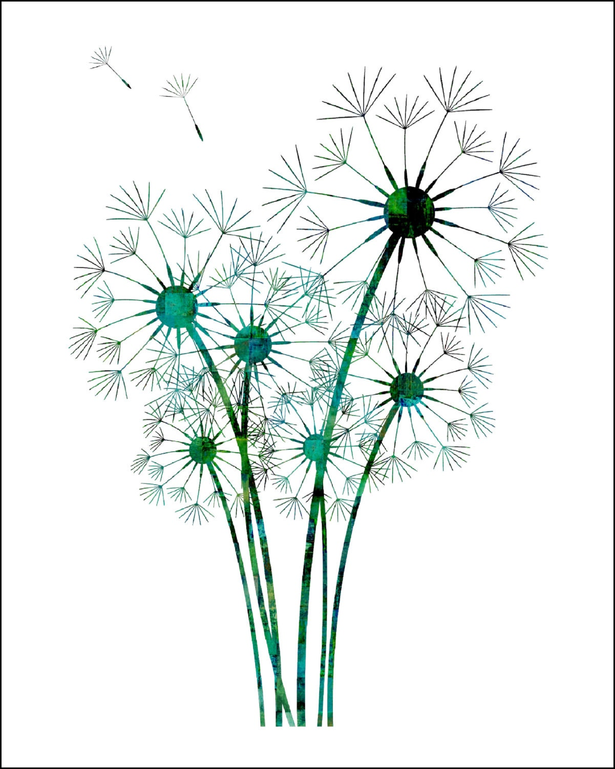 Images Of Dandelion Teal Painting