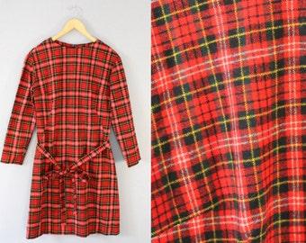 Vintage Red Plaid Three Quarter Sleeve Dress Size Medium Large