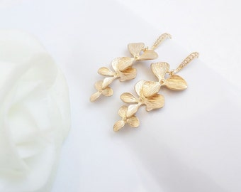 Gold Orchid Bridal Earrings Cascading Orchid Bridal Earrings Long Orchid Bridal Earrings  Matte Gold Orchid Bridal Earrings FREE US Shipping