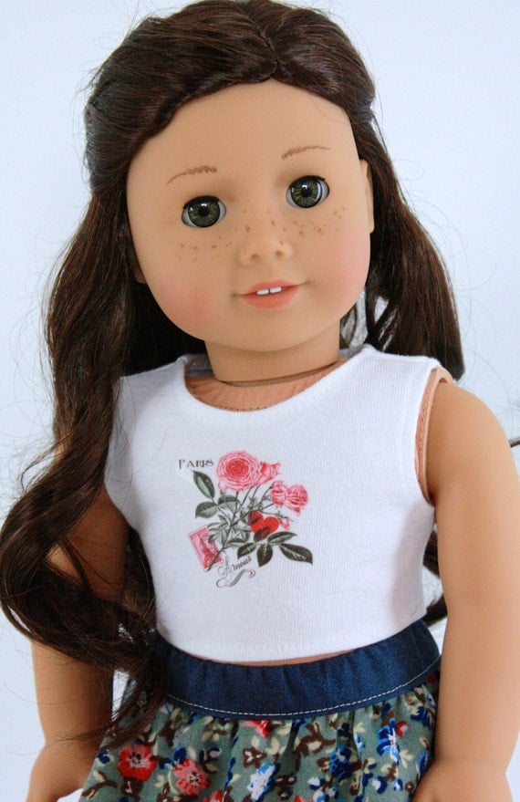 Paris Floral Eiffel Tower CROP TANK TOP for 18 Inch American Girl Doll