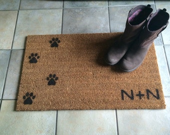 Doormat / Welcome Mat Personalized with Custom Initials and dog / cat paw prints - natural coir