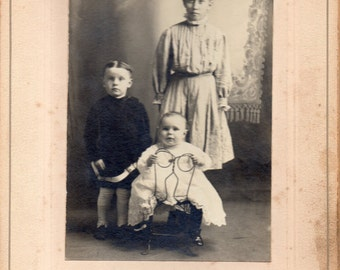 Antique Photo of Dour Siblings