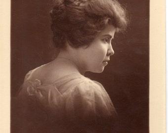 Antique Photo of Pretty Lady in Profile