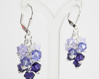 Crystal Cluster Earrings, Ombre Earrings, Choice of Colors, Swarovski Crystal, Leverback Earrings, Wedding Jewelry, Sterling Silver