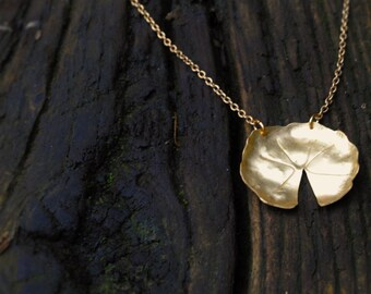 Golden lilypad pendant