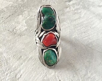 Vintage Old Pawn Turquoise and Coral Silver Ring