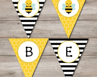 Bumble Bee Banner with Editable Text, Printable Bumblebee Party Pennant, DIY Bumblebee Banner to Print at Home, Bumble Bee Bunting to Print