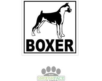 SALE~ Boxer decal - dog car vinyl bxer sticker - Boxer breed bias, #boxerlove - Smooshface United