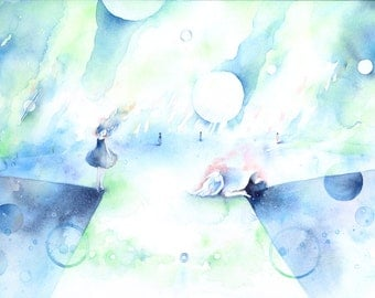Original Watercolor Painting B4-size - fantasy illustration, paper mounted on wood panel