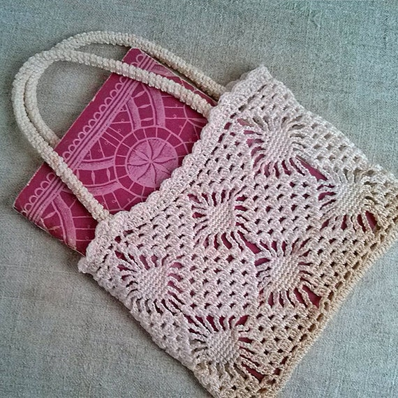 Beautiful Crochet Bags : Vintage crochet ivory bag Beautiful crocheted small bags Womens ...