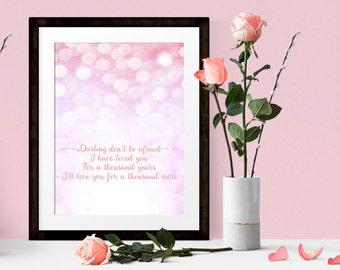 A Thousand Years, Christina Perry Art Print, Song Lyric Poster, Music Lyric Print, Twilight Breaking Dawn, Wedding Art Print 4x6, 5x7, 8x10