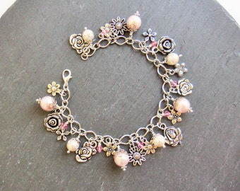 Pink and cream pearl and crystal flower charm bracelet, pink charm bracelet, flower bracelet, Swarovski pearl bracelet, silver pink roses