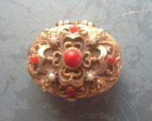 Vintage Mini Pill Box - Oval Pill Box - Mini Pearls - Micro Gold Toned Pill Box - Victorian - Downton Abbey