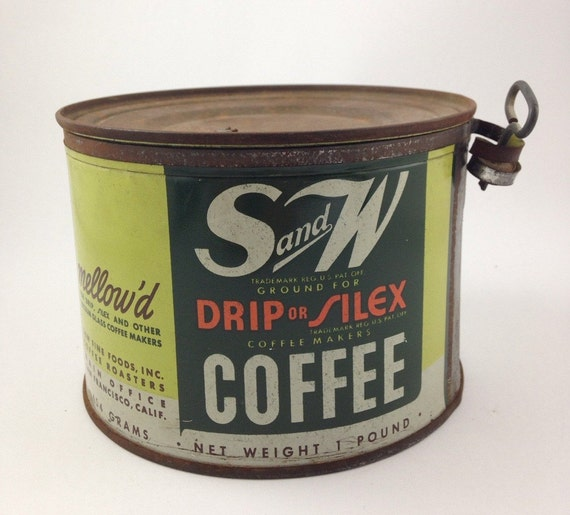 Vintage green s w key wind coffee tin coffee can one - What are coffee cans made of ...