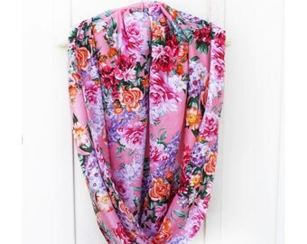 Floral Scarf, Chiffon Scarf, accessory, Spring scarf, summer Scarf,Circle Scarf, Infinity Scarf, Summer Scarf, florals, scarves