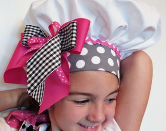 Girl's Frilly Apron with Matching Chef's Hat Pink and Black Geometric