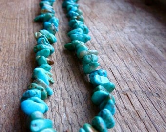 Vibrant Turquoise Nugget Sterling Silver Necklace