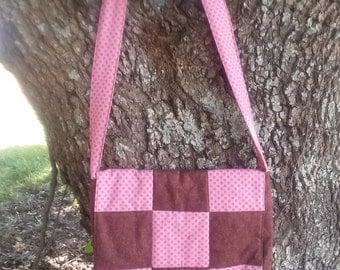 Quilted Messenger bag, Ladies bag in brown and pink Messenger Bag