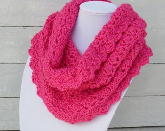 Pink Cowl /  Hot Pink Scarf / Hot Pink Scarf / Crochet Scarf / Lacy Scarf / Valentine's Scarf / Circle Scarf / Infinity Scarf