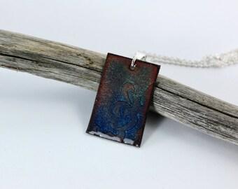 Blue Enamel Pendant, Enamel Necklace, Etched Pendant, Blue Enamel, Silver Pendant, Copper Pendant, Blue Necklace, Blue Pendant