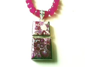 Rose Purple Sea Sediment Jasper Necklace, Sterling Silver Double Jasper Pendant & Rose Jade Bead Necklace