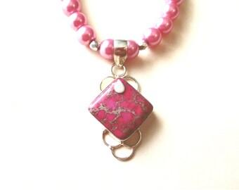 Pink Sea Sediment Jasper Necklace, Pink Jasper Pendant & Glass Bead Necklace