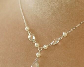 Bridal necklace pearl necklace wedding, crystal necklace bridal, y drop necklace - Melissa